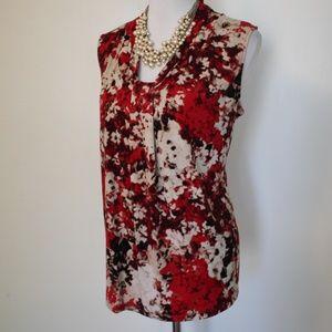 DANA BUCHMAN XL Blouse Red Beige Black